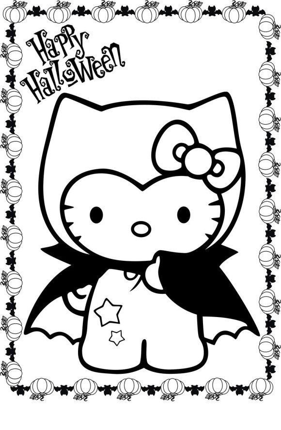 10 Hello Kitty Halloween Coloring Pages for Kids to have fun
