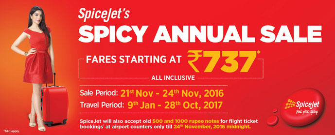 SpiceJet SPICY ANNUAL SALE Offers