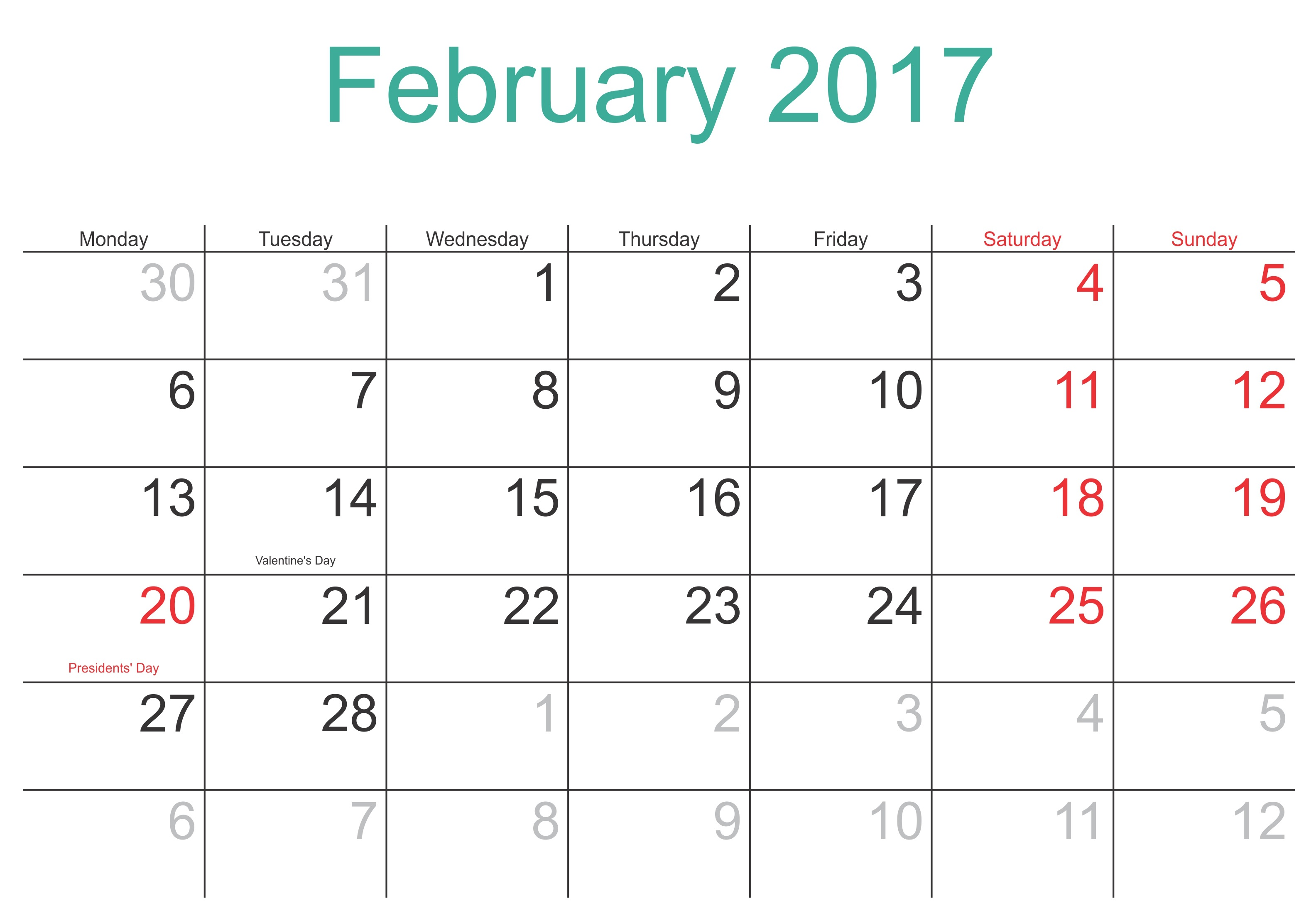 February 2017 Printable Calendar Template Holidays Excel