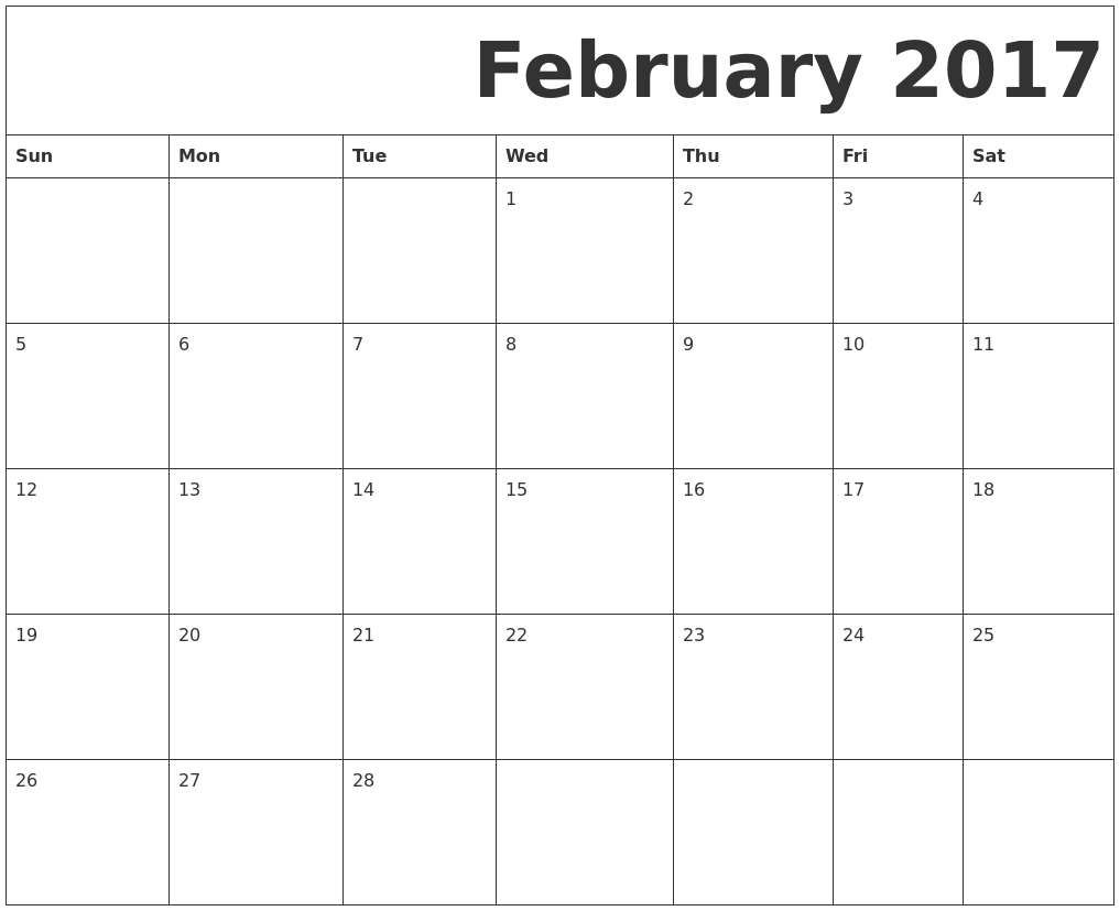 2017 February Printable Calendar With Holidays