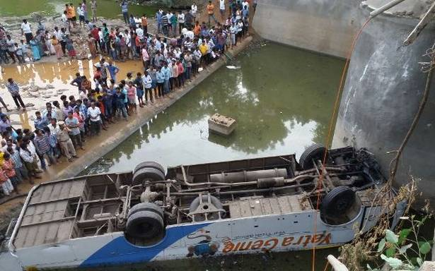 Andhra Pradesh: 11killed and 30 others suffered severe injuries after bus falls into canal