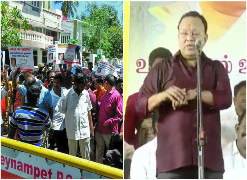 DMK leader Radha Ravi mocks differently abled children during speech