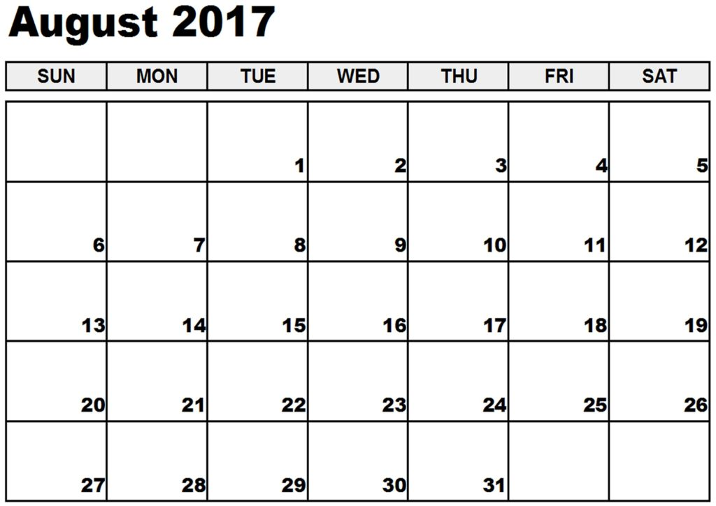 August 2017 Printable Calendar Template, Holidays, Excel & Word