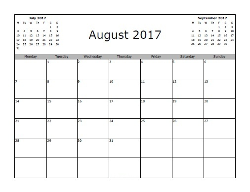 August 2017 Printable Calendar Template, Holidays, Excel & Word ...