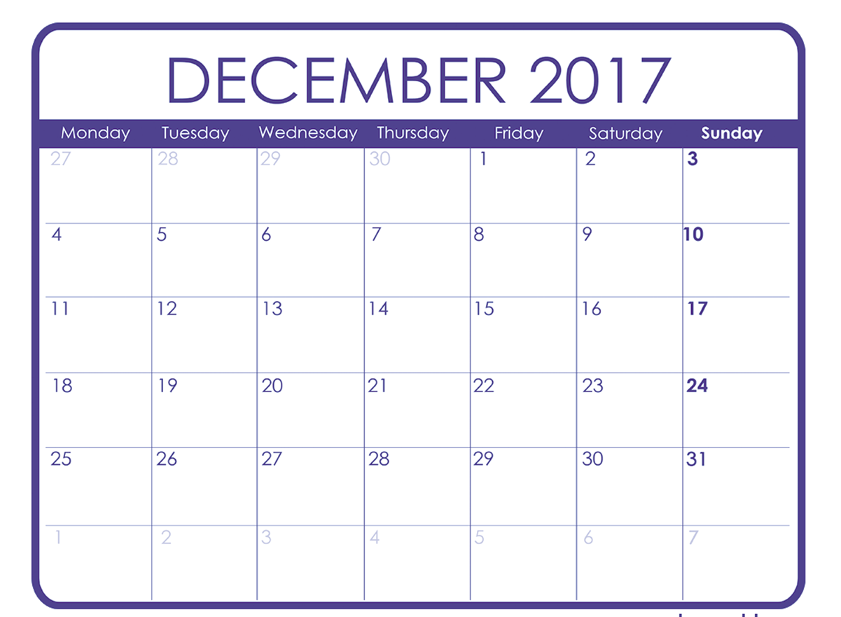 December 2017 Printable Calendar Template, Holidays, Excel & Word ...