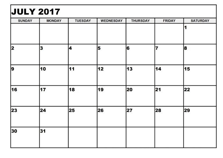 July 2017 Printable Calendar Template, Holidays, Excel & Word