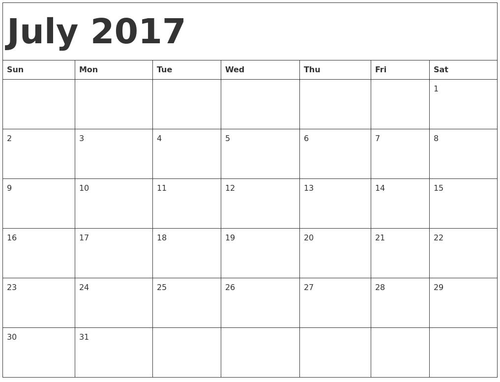 Blank Calendar July Printable : July printable calendar template holidays excel