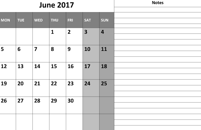 Printable June Calendar