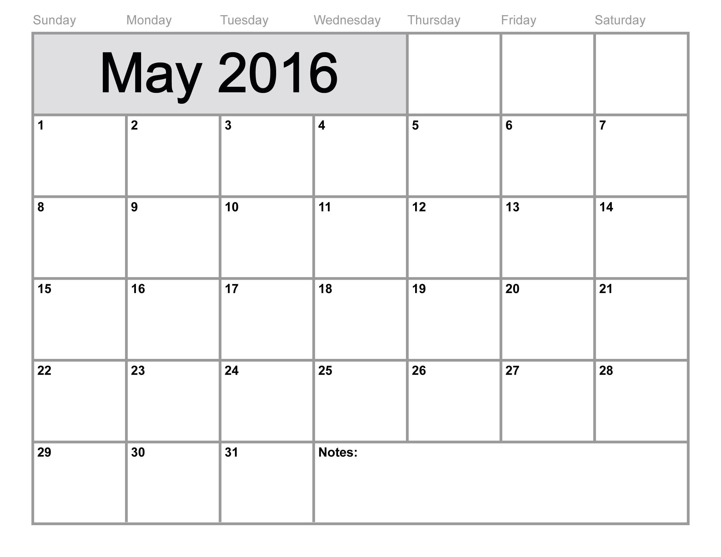 May 2017 Printable Calendar Template Holidays Excel Word