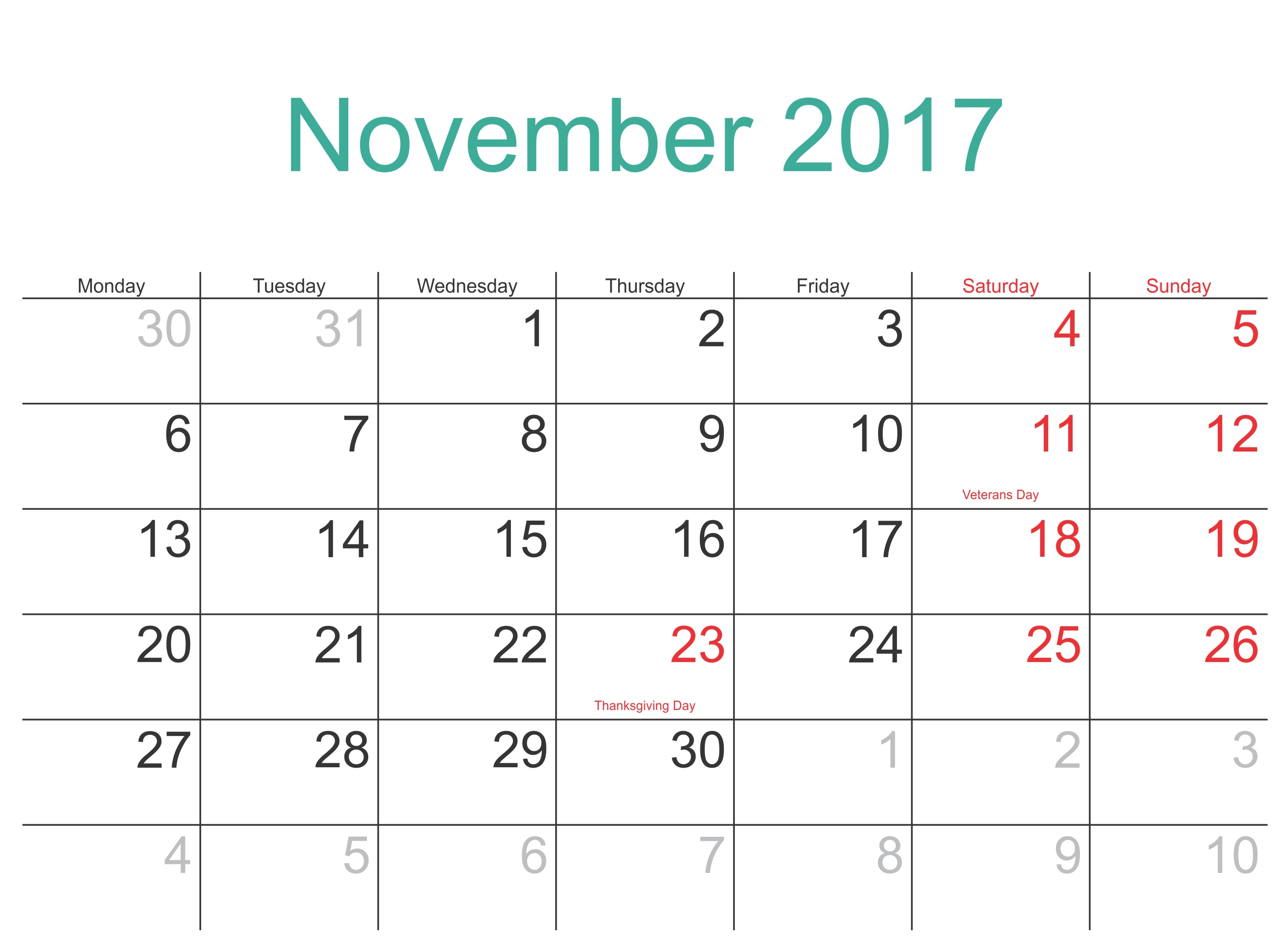 November 2017 Printable Calendar Template Holidays Excel Word