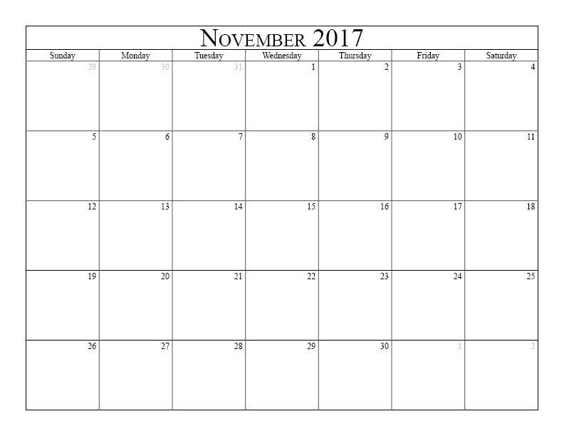 November 2017 Printable Calendar Template Holidays Excel Word