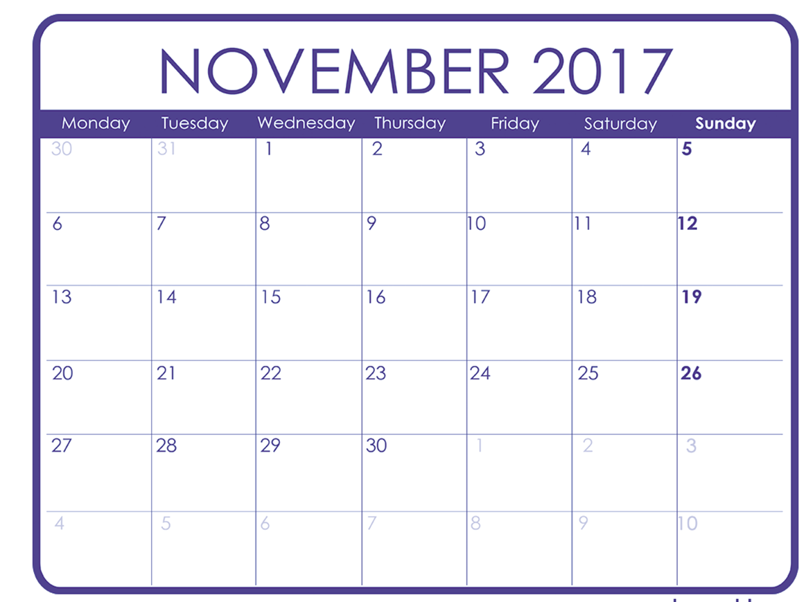 November 2017 Printable Calendar Template, Holidays, Excel & Word ...