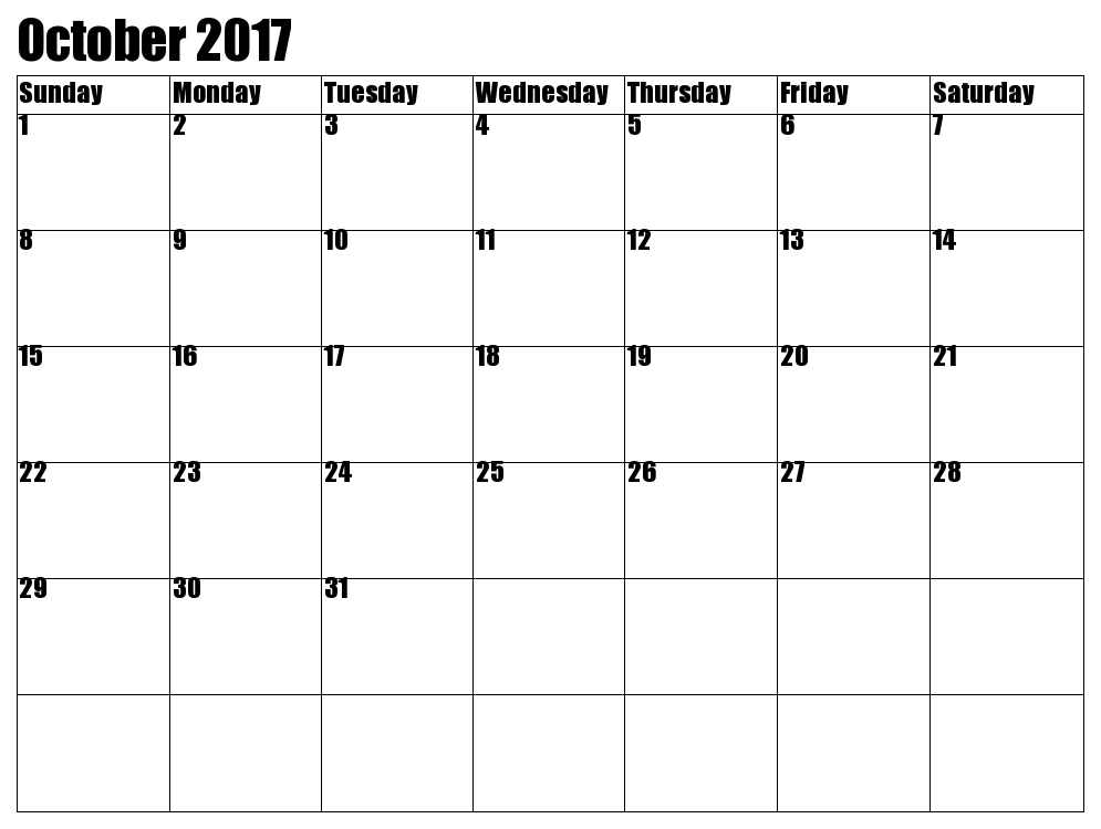 October 2017 Printable Calendar Template, Holidays, Excel & Word ...