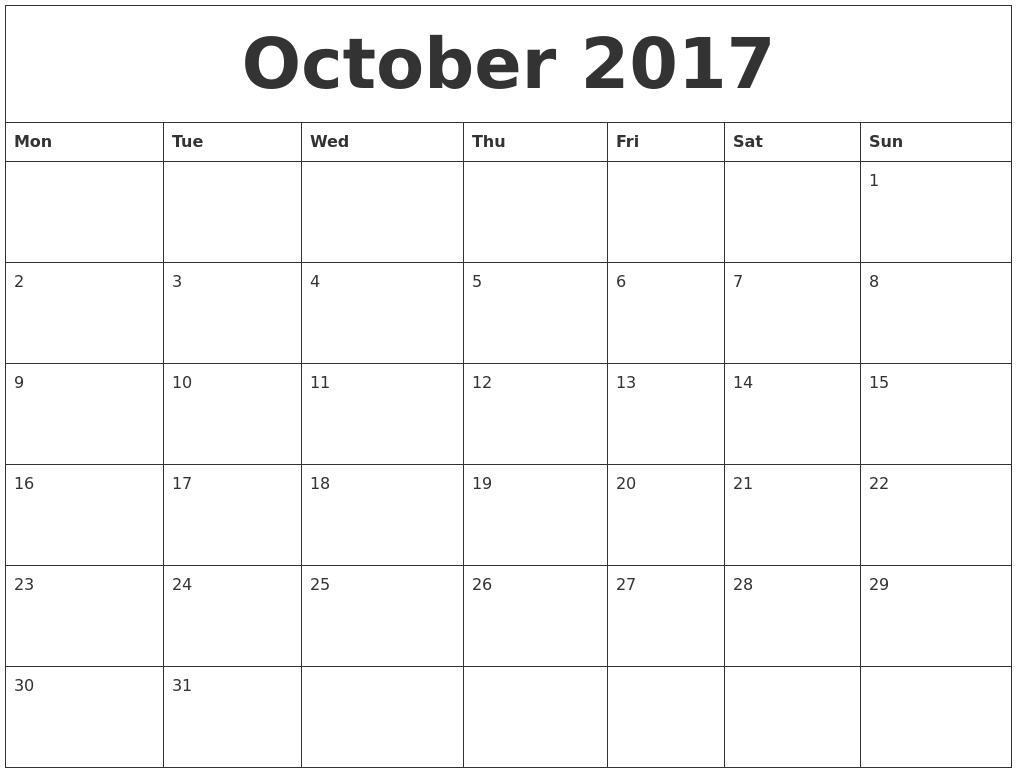 October 2017 Printable Calendar Template Holidays Excel Word