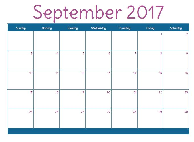 September 2017 Printable Calendar Template, Holidays, Excel & Word ...