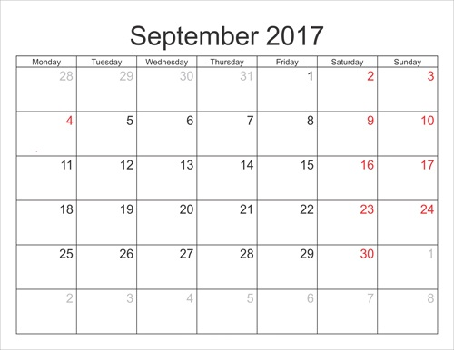 September 2017 Calendar Template Word
