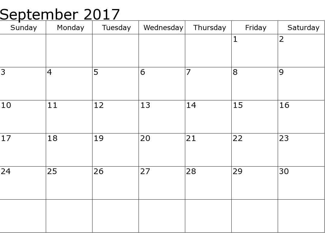 2017 September Calendar Template Excel – September printable calendars