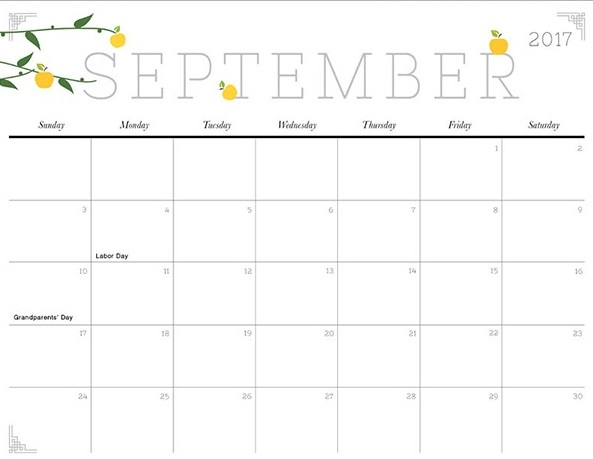 September Calendar With Holidays : September printable calendar template holidays