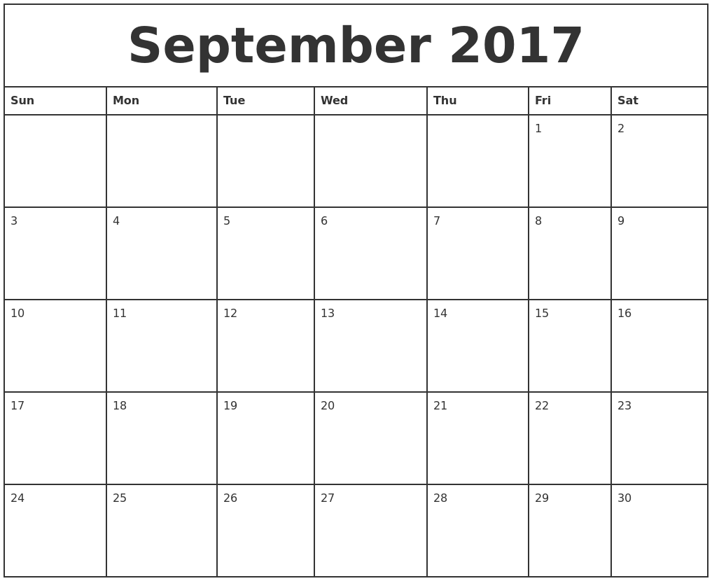 September 2017 Printable Calendar Template, Holidays, Excel & Word ...